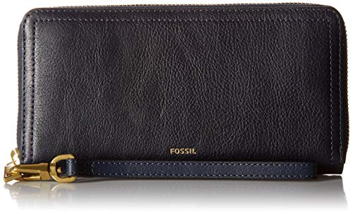 Fossil Logan RFID Zip Around Clutch Midnight Navy