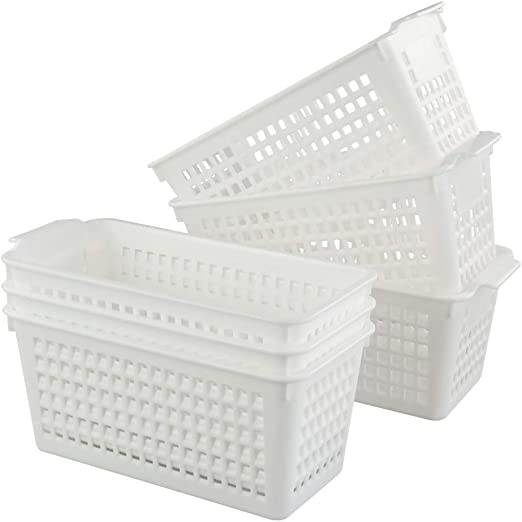 Fosly Juego de 6 Cestas de plástico para Armario de Cocina, Cestas Blancas, Cestas de Almacenaje: Amazon.es: Hogar