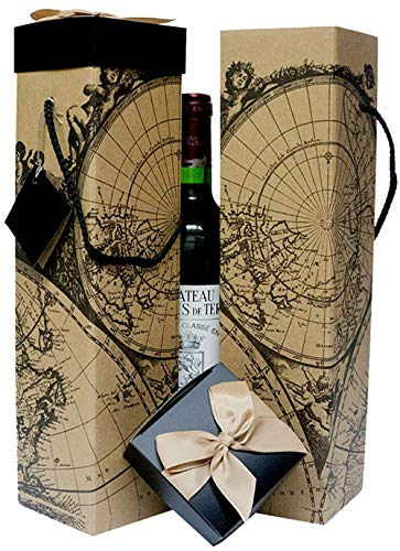 Wine Gift Box x2 - Reusable Caddy - Easy to Assemble - No Glue Required - Gift Tag and Ribbon Included - Vintage World Map Design - Montrachet Collection - EZ Wine Gift Box by Endless Art US (Ribbon Bottle)