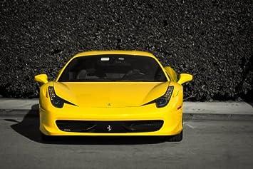 Amazon De Driver Motorsports Ferrari Yellow 458 F458 Italia Yellow Front Hd Poster Super Car Print