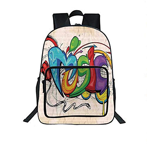 Music Decor Individual School Backpack,Illustration of Graffiti Style Music Lettering Headphones Hip Hop Rhythm Tempo Hipster Concept for School Tourism,One_Size