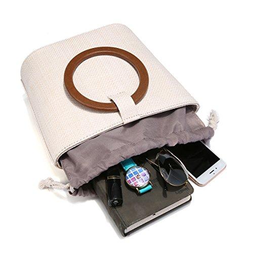 Straw Quotidienne à Plage pour de Voyage et de Women l'utilisation Main Sac Sac Blanc Le JOSEKO Paille d'épaule daFqHAxnq