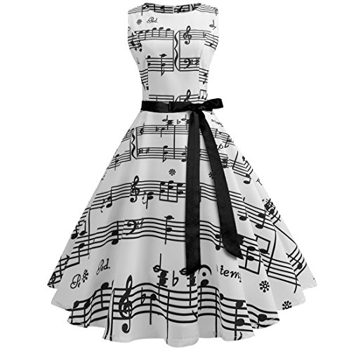 Wellwits Women's Boat Neck Sash Tie Music Note Print Midi Fall Swing Dress L ()
