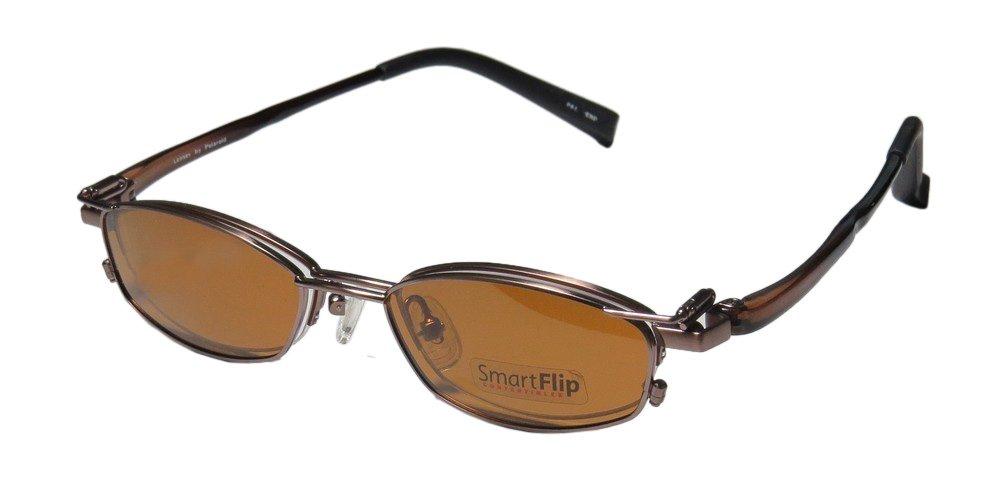 SmartFlip 413 Mens/Womens Designer Half-rim Sunglass Lens Clip-Ons Eyeglasses/Spectacles (50-18-140, Chocolate) by SMART STOCK