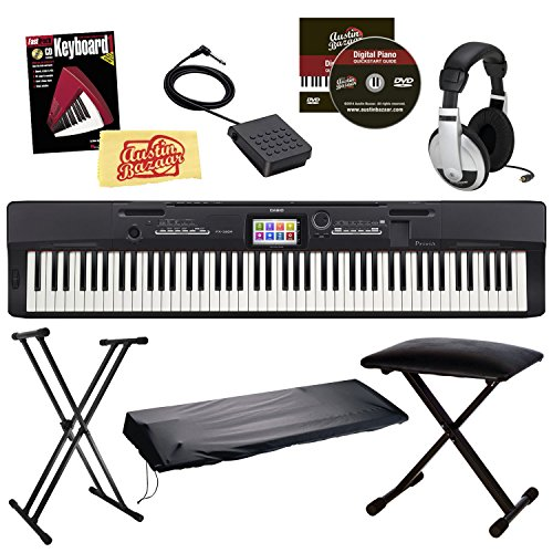 Casio Privia PX-360 Digital Piano - Black Bundle with Adjustable Stand, Bench, Dust Cover, Headphones, Sustain Pedal, Instructional Book, Austin Bazaar Instructional DVD, and Polishing - Stand Privia Casio