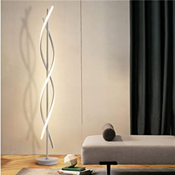 ELINKUME Dimmable Floor Lamp LED White Spiral Standing Lamp 30W Adjustble Light Modern Creative Unique Style Perfect for Indoor Decoration