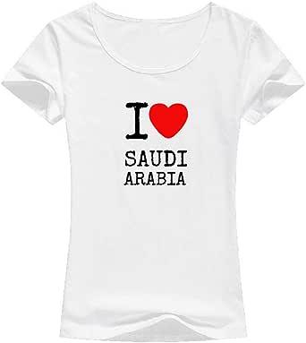 White Color I Love Saudi arabia T-Shirt For Women - size XL