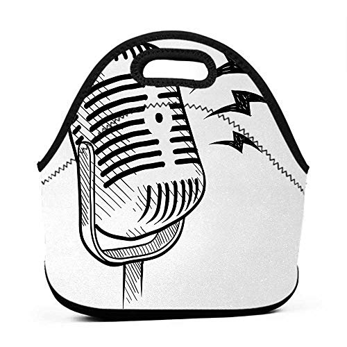 for Womens Mens Boys Girls Doodle,Retro Microphone Communication and Media Concept Radio Show Speech Talk Podcast,Black White,lunch bag for traveling