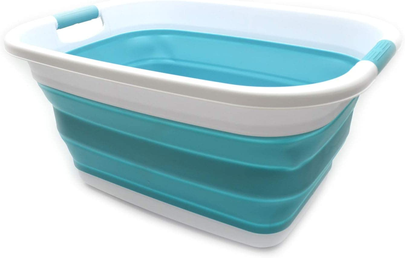 SAMMART Collapsible Plastic Laundry Basket - Foldable Pop Up Storage Container/Organizer - Portable Washing Tub - Space Saving Hamper/Basket (1, Bright Blue)