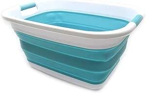 SAMMART Cesta de lavander/ía de pl/ástico plegable Cesta // cesta de ahorro de espacio Tina de lavado port/átil Contenedor // organizador plegable de almacenamiento port/átil Cielo azul