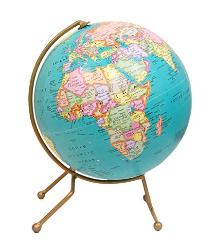 Turquoise World Globe - Antique Handmade Unique Stand (10 inches Diameter Ball) Desktop Rotating Decorative World Globe - Decorative Globe for Home and Office, Perfect Gift for Men/Women/Boss/Child