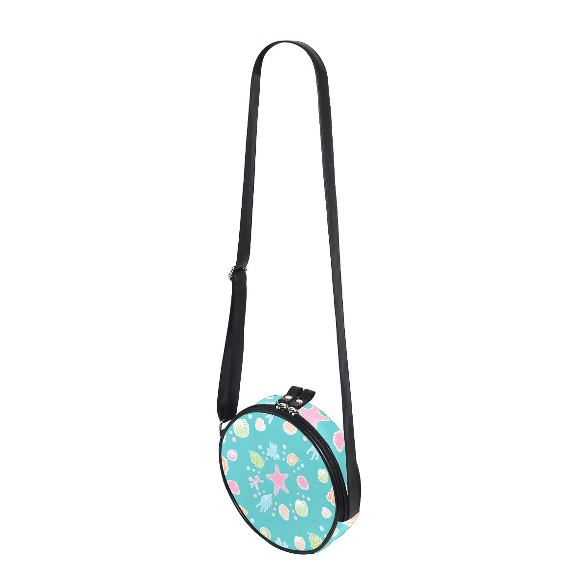 Cute Colorful Seashells And Starfish On Turquoise Super Cute Design Small Canvas Messenger Bags Shoulder Bag Round Crossbody Bags Purses for Little Girls Gifts