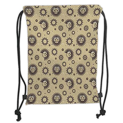 Custom Printed Drawstring Sack Backpacks Bags,Sun and Moon,Mythology Pattern with Vintage Space Symbols Dots Astronomy Art Inspiration,Brown Khaki Soft Satin,5 Liter Capacity,Adjustable String Closure