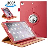 ZoneFoker New iPad 7th Generation Tablet Leather Case (10.2-inch - 2019 Releases) - 360 Degree Rotating Multi-Angle Viewing Folio Stand Cases with Pencil Holder for iPad 10.2 7th Gen - Red