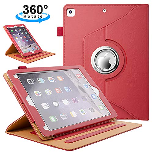 ZoneFoker New iPad 7th Generation Tablet Leather Case (10.2-inch,2019 Releases), 360 Degree Rotating Multi-Angle Viewing Folio Stand Cases with Pencil Holder for iPad 10.2 7th Gen - Red