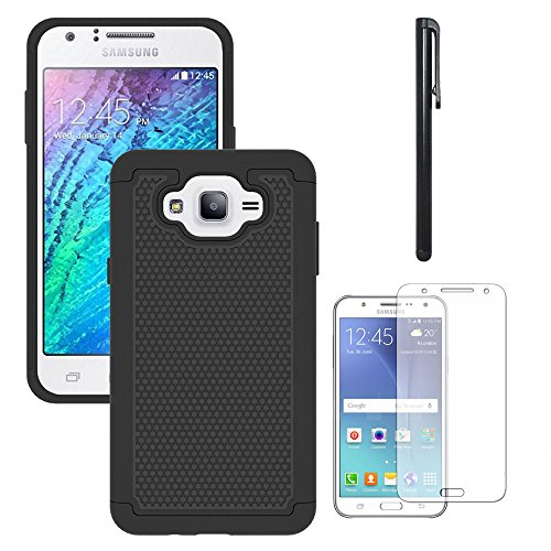 Galaxy J7 Neo J701M /J7 Nxt J701F /J7 Core J701 Case, With Screen Protector, Telegaming Dual Layer Armor Case Drop Protection TPU & Hard PC Back Cover For Samsung Galaxy J7 Neo /J7 Core Duos Black