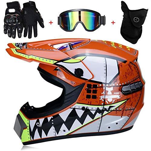 TKUI Kinder Motocross MX Helm { Motorradhelm + Handschuhe + Brille} Gelb ECE Genehmigt Crosshelm Kinderquad Off Road…