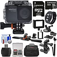 Vivitar DVR794HD 1080p HD Wi-Fi Waterproof Action Video Camera Camcorder (Black) with Remote, Helmet, Bike, Suction Cup & Dashboard Mounts + 32GB Card + Case + Kit