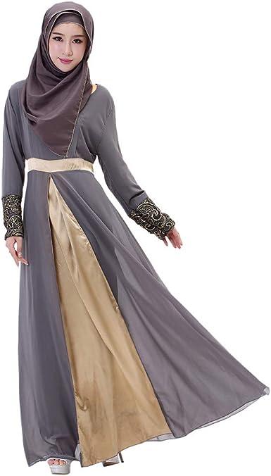 Sallydream Mujer Musulmán Largo Vestido Largo Dubai Patchwork Gown ...