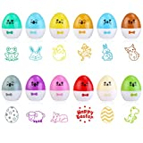 BESTOMZ Easter Stamps for Kids with Easter Egg Design 1.5 Inches Diameter, Set of 12