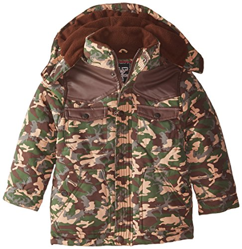Boys' camouflage and Yoke Contrasting Hood Detachable with Pleather Bubble Jacket YMI OdwFaqa