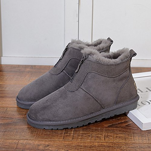 Winter snow snow boots cotton and cashmere warm shoes,35 grey by ZRLsly