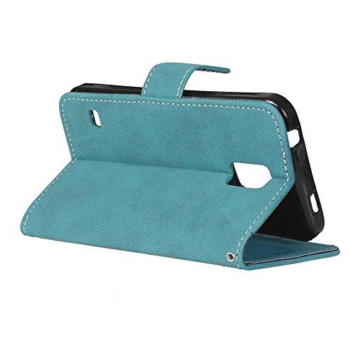 YHUISEN Retro Style Solid Color Premium PU Cartera de cuero Carcasa Flip Folio cubierta protectora de la caja con ranura para tarjeta / Stand para Samsung Galaxy S5 ( Color : Beige ) Blue