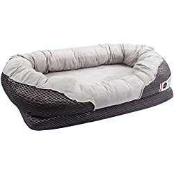 BarksBar Large Gray Orthopedic Dog Bed - 40 x 30 inches - Snuggly Sleeper with Nonslip Orthopedic Foam