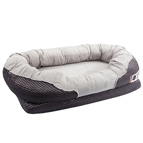 Bagel Dog Bed - BarksBar Large Gray Orthopedic Dog Bed - 40 x 30 inches - Snuggly Sleeper with Nonslip Orthopedic Foam