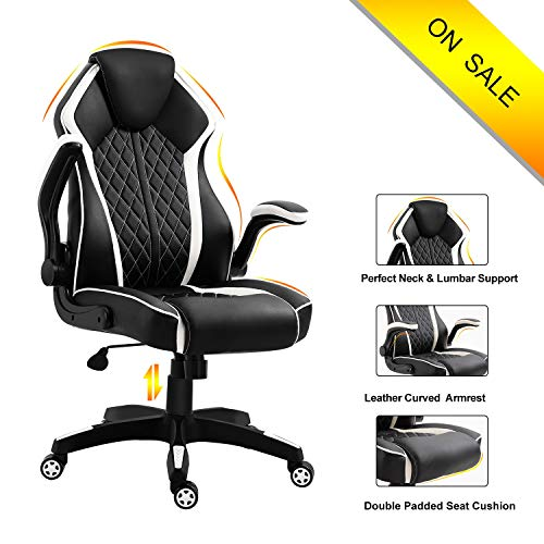 Ergonomic High Back Leather Office Chair-Title Locked and Soft Padded Armrest Executive Swivel Computer Chair, Comfort Design for Lumbar Support and headrest LUXL001 (White) (Best Office Chair Design)