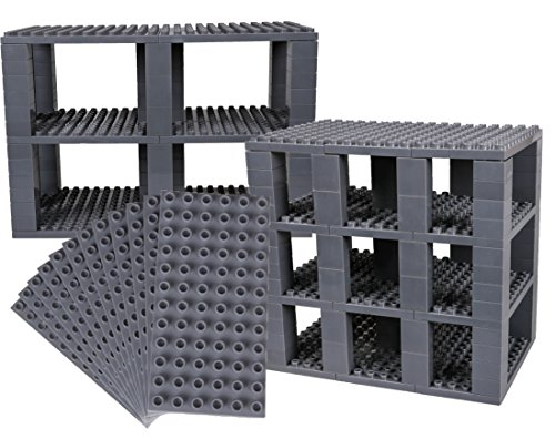 Strictly Briks Classic Big Briks 96 Piece Set 100% Compatible with All Major Brands   Tower Construction   Large Pegs for Toddlers   Ages 3+   Building Bricks & Baseplates   Gray