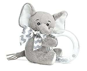 Bearington Baby Lil' Spout Plush Stuffed Animal Gray Elephant Shaker Toy Ring Rattle, 5.5""