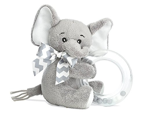 Bearington Baby Lil' Spout Plush Stuffed Animal Gray Elephant Shaker Toy Ring Rattle, -
