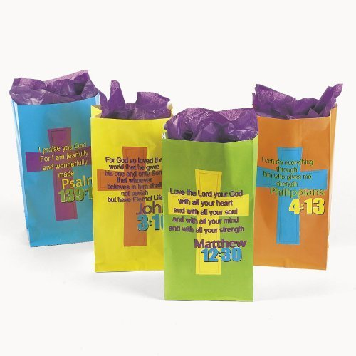 TREAT BAGS WITH BIBLE VERSUS (1 DOZEN) - - Bag Religious Christian Tote