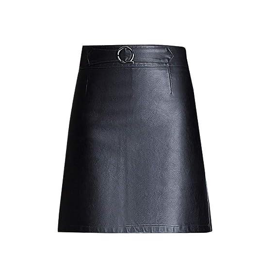 DISSA SK3512 - Falda de Piel sintética para Mujer Negro 38 EU X ...