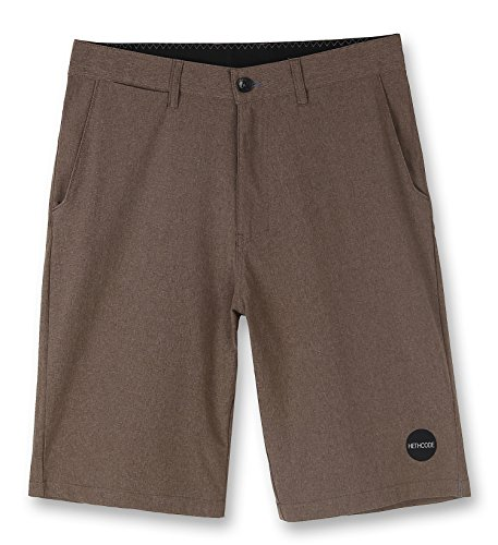 (HETHCODE Men's Casual Classic Fit Hybrid Submersible Chino Walk Shorts Military 36)