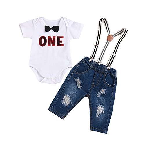 (Kashoer 2Pcs Baby Boy Girls Bowtie Letters Romper Top+Long Denim Suspenders Pant Pocket Overall Outfit (White, 12-24Months))