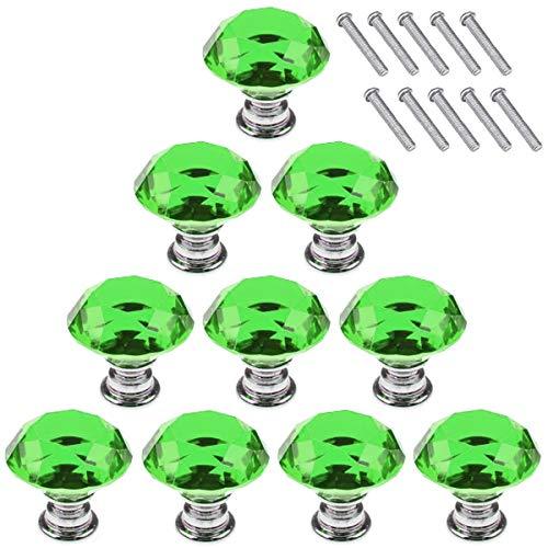 - Akstore 10 Pcs Crystal Glass Cabinet Knobs 30mm Diamond Shape Drawer Kitchen Cabinets Dresser Cupboard Wardrobe Pulls Handles (Green)