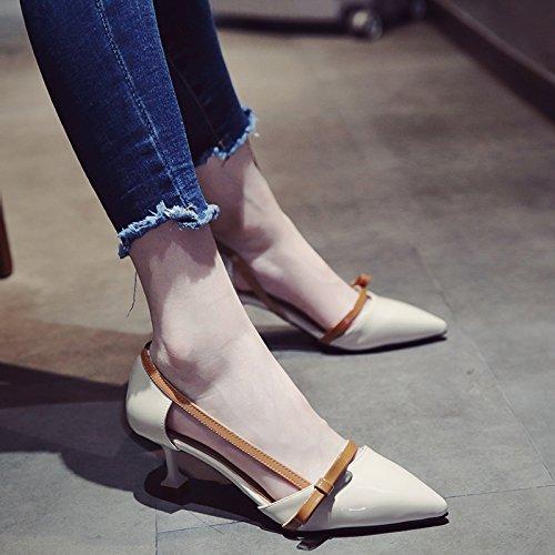 SHOESHAOGE Heeled Con High Pajarita Los Eu36 EU39 De Gatos Mujer Zapatos Zapatos Sandalias Mujer Elegante Punta OqU7Opnr