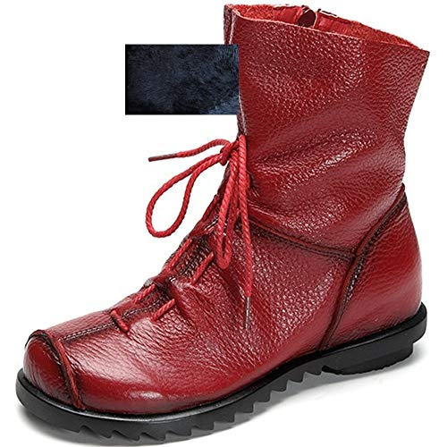 Women's Genuine Leather Casual Soft Flat Boots (8.5B(M) US, Red- Fur-Lined)