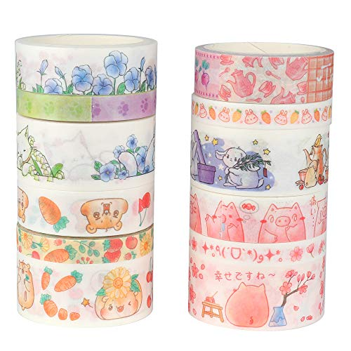 Molshine Set of 12 (Length 9.84ft/Roll) Washi Masking Tape Set,Crafts Tape for DIY,Planners,Scrapbook,Object Decorative,Collection,Gift Wrapping-Cute Animals,Cats,Rats,Pigs,Rabbits Series