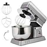 Stand Mixer, 650W 6-Speed 5L Stainless Steel Bowl, Tilt-Head Food Mixer Kitchen Electric Mixer with Dough Hooks, Wire Whip, Flat Beater (Sliver.)