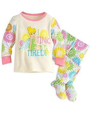 Baby Tinker Bell Footed PJ PALS Pajamas 12-18 MO