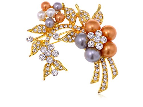 - Alilang Womens Yellow Golden Tone Clear Rhinestones Faux Pearls Floral Flower Brooch Pin