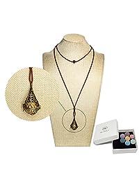 Bivei Lava Stone Aromatherapy Essential Oil Diffuser Choker Necklace Locket Pendant W/Adjustable Chain Multi-Colored Beads