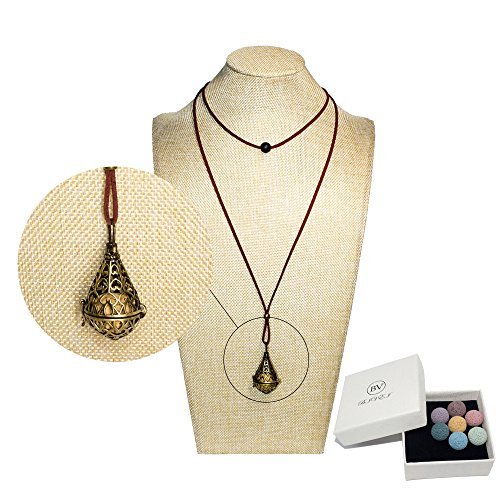 Bivei Lava Stone Aromatherapy Essential Oil Diffuser Choker Necklace Locket Pendant W/Adjustable Chain and Multi-Colored Beads(Water Drop)