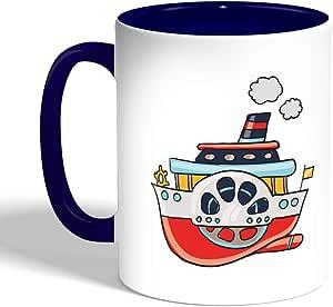 كوب سيراميك للقهوة، لون ازرق،  بتصميم باخرة