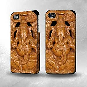 Apple iPhone 4 / 4S Case - The Best 3D Full Wrap iPhone Case - Hindu God Ganesha Wood Caving Graphic Printed