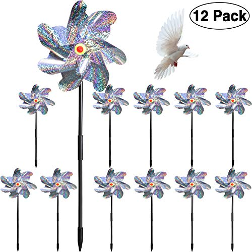 Maitys 12 Pieces Bird Repellent Pinwheels Holographic Mylar Pin Wheel Spinners for Farm Garden Field, Keeping Birds Away ()