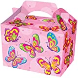 16 Girls Pink Butterfly Food Boxes ~ Picnic Carry Meal Box ~ Birthday Party Plate by Mustbebonkers